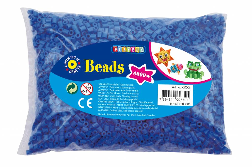 Playbox Megapakket van wel 6000 strijkparels in blauwe kleur
