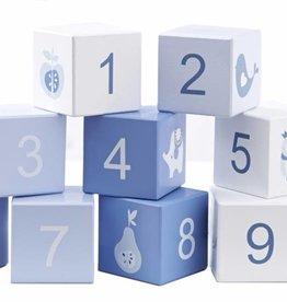 Wit/Blauwe Blokkenset met cijfers en figuren
