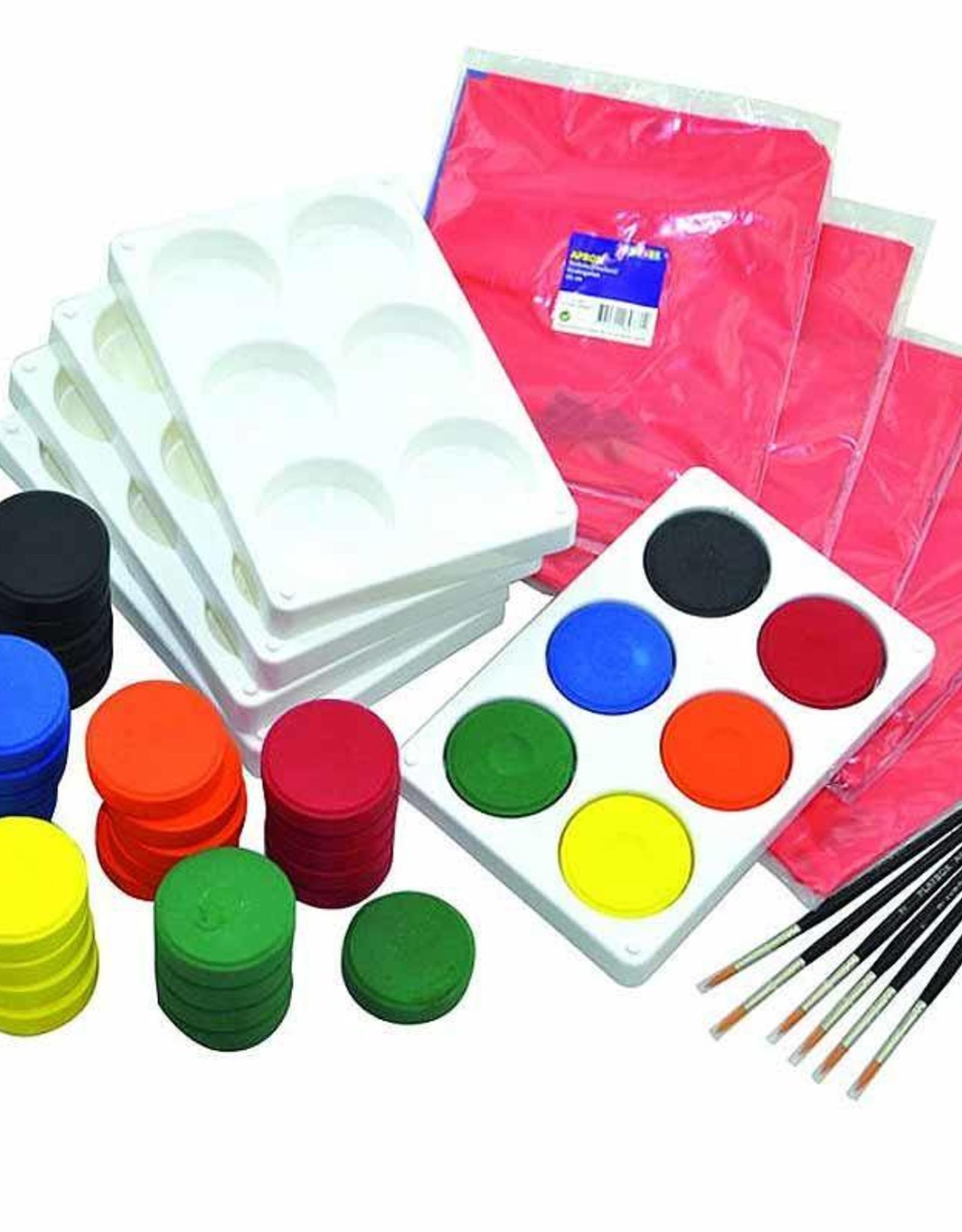 Playbox  Grote schilderdoos met verfdozen, penselen en schorten