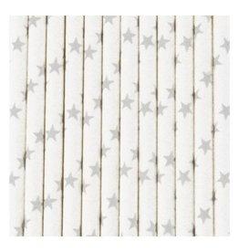 MLD Rietjes Wit met Zilveren Sterren (25 st)