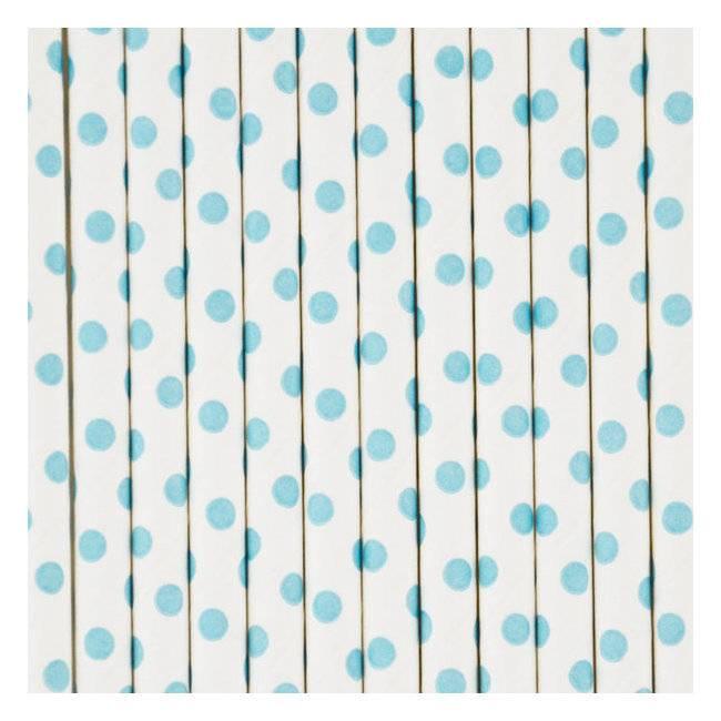 MLD Papieren Rietjes Wit met blauwe Bolletjes (25 st)