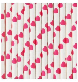 MLD Rietjes Wit met Roze Hartjes (25 st)