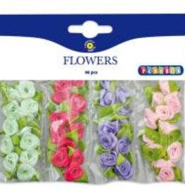Set van 48 kleine stoffenbloempjes (1 cm) in 4 kleuren