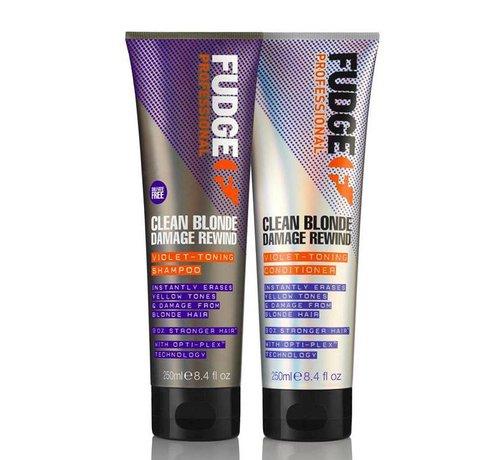 Fudge Clean Blonde Damage Rewind Violet Duo Pack - 2X250ml
