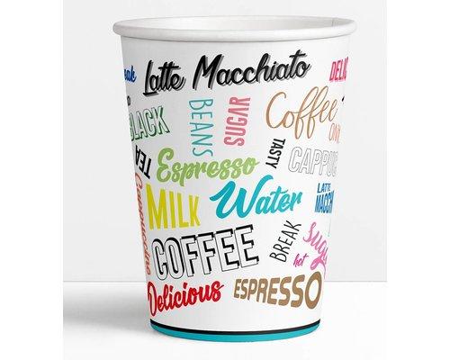 Kartonnen Koffiebeker Words - 180ml / Kartonnen drinkbeker