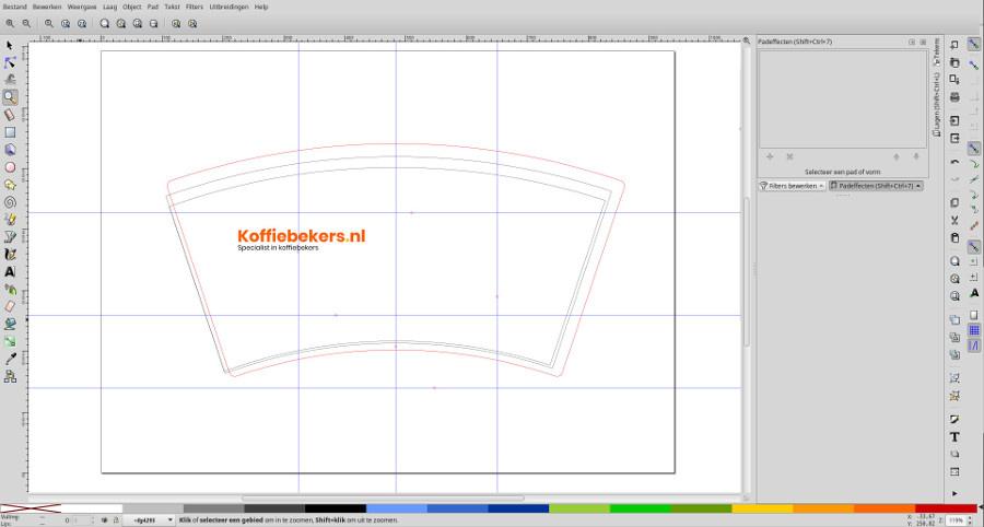 screenshot logo op sjabloon in programma inkscape