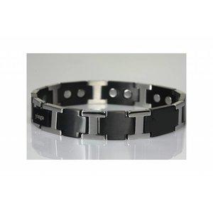 "8576H Herren Magnetarmband ""Schwarz-Silber"""