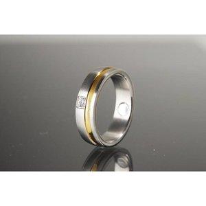 R524a Magnetschmuck Ring Bicolor