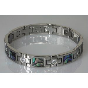 8645S+G Magnetschmuck Armband Silber mit Zirkonia-Steinen und Pauamuschel-Einlagen