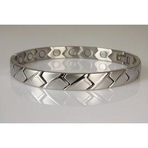8122S+B Magnetschmuckarmband für Damen im Stil Silber