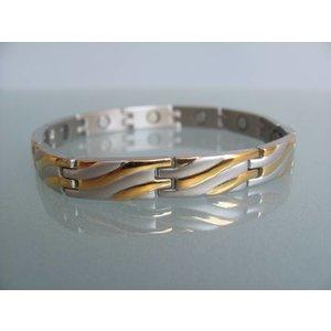 4210B Magnetschmuckarmband für Damen + Herren bicolor