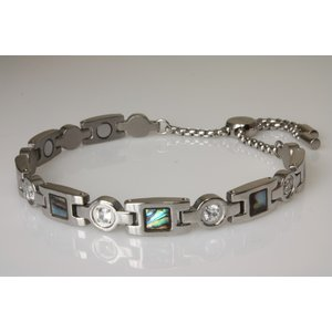 8018S Magnetschmuck Armband Stil Silber mit Paua-Muschel