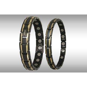 "8262BG-4P Magnetschmuck Armbänder als Partner Set ""Schwarz-Gold"""