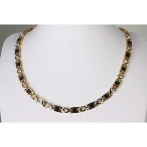 """H9062G Magnetschmuck Halskette mit Zirkonia im Stil """"Gold"""""""