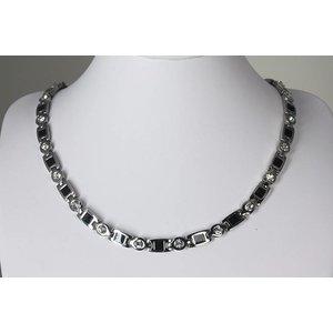 """H9062S Magnetschmuck Halskette mit Zirkonia im Stil """"Silber"""