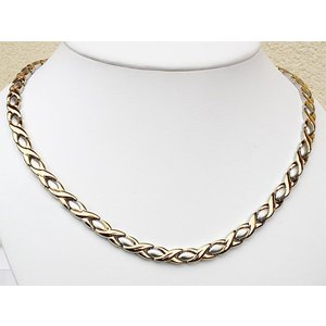 H9024B Magnetschmuck Damen-Halskette bicolor