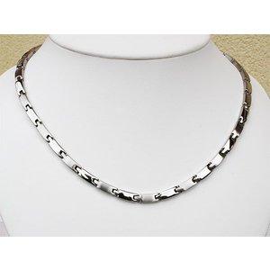 H9031S Schmale Damen Magnetschmuck Halskette Silber