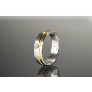 R524a Magnetschmuck Ring in bicolor