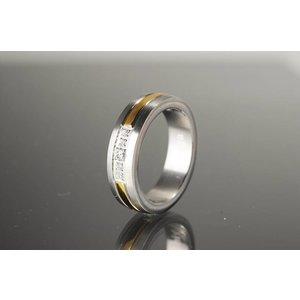 R694 Magnetschmuck Ring teilweise vergoldet
