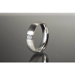 R3699 Magnetschmuck Ring Silber + Zirkonia