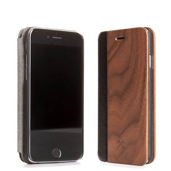 Woodcessories EcoFlipcover Walnut/Leather iPhone SE