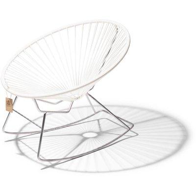 Condesa schommelstoel wit, frame in chroom, handgemaakt in Mexico