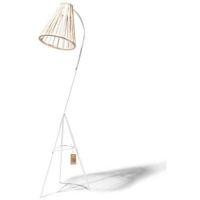 Lampada da terra canapa, struttura bianca