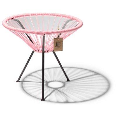 Tavolino Japón rosa salmone con piano in vetro