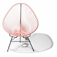 Handmade Acapulco chair salmon pink, black frame