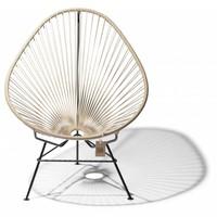 Acapulco chair beige, handmade, black frame