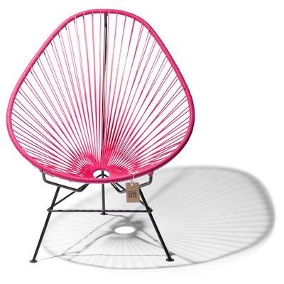 Handmade Acapulco chair bougainvillea, black frame