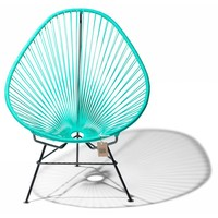 Handmade Acapulco chair turquoise, black frame