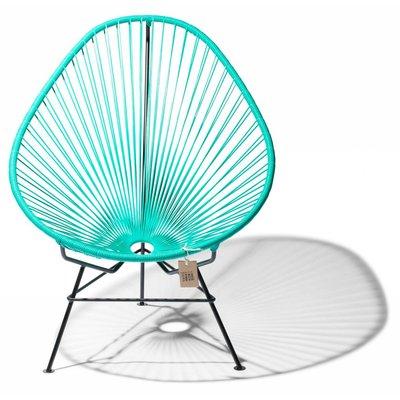 Handgemaakte Acapulco stoel turquoise, zwart frame