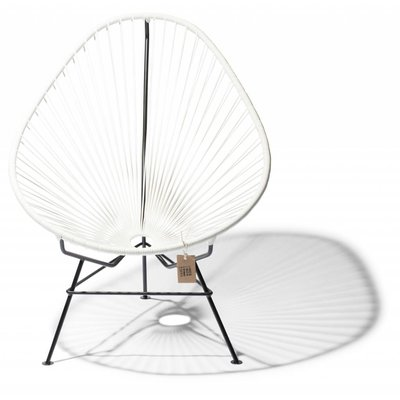 Handmade Acapulco chair white, black frame