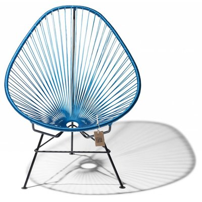 Handmade Acapulco chair metallic/cobalt blue, black frame