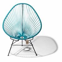 Handmade Acapulco chair petrol blue, black frame