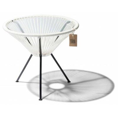 Tavolino Japón bianco con piano in vetro