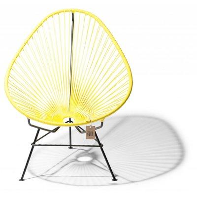Handmade Acapulco chair canary yellow, black frame
