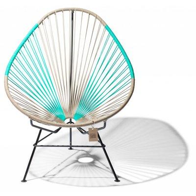 Acapulco chair beige & turquoise, handmade, black frame