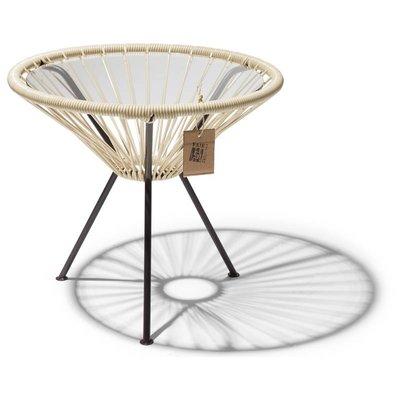 Tisch Japón beige mit Glastischplatte