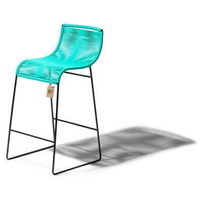Barstoel Zicatela turquoise, staal en pvc