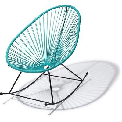 Handgemaakte Acapulco schommelstoel turquoise met zwart frame