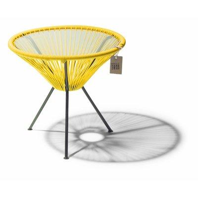 Tavolino Japón giallo con piano in vetro