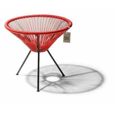 Table Japón rouge avec plateau en verre