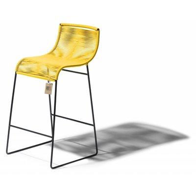 Barstoel Zicatela geel, staal en pvc