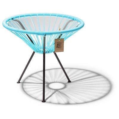 Table Japón bleu avec plateau en verre