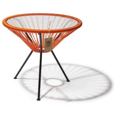 Tisch Japón orange mit Glastischplatte