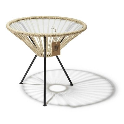 Table Japón chanvre avec plateau en verre