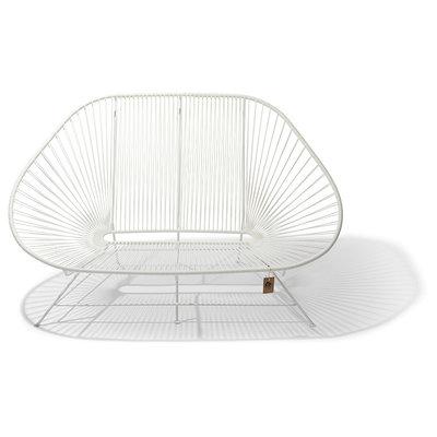 Sofa Acapulco blanca, estructura blanca, para 2 personas