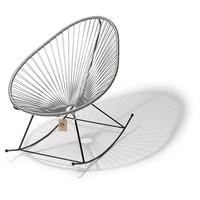 Handgemaakte Acapulco schommelstoel zilvergrijs met zwart frame